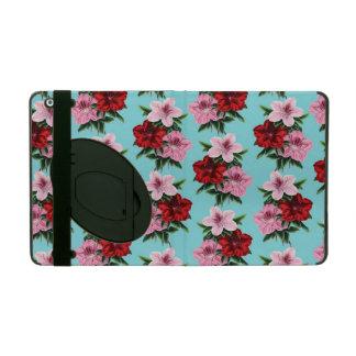 rosarote Blumen auf aquamarinem Licht iPad Schutzhüllen