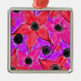 Rosarote lila Watercolor-Blumen-Schwarz-Skizze Quadratisches Silberfarbenes Ornament