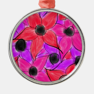 Rosarote lila Watercolor-Blumen-Schwarz-Skizze Silbernes Ornament