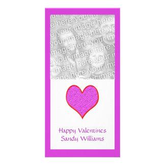 rosarotes Herz Fotokartenvorlage