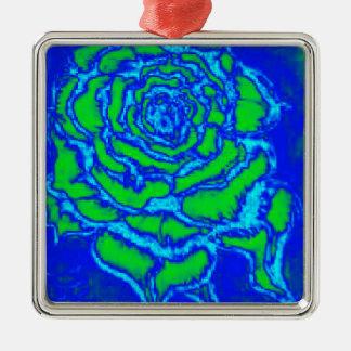Rose des Blaus Silbernes Ornament