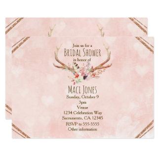 Rose erröten rosa Blumenrotwild-Geweih-Einladungen Karte