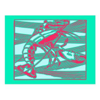 Rose Fuscia rosa Aqua-Hummer Krebs Postkarte