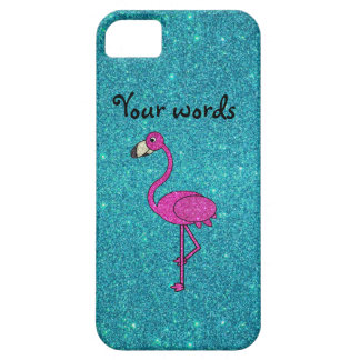 Rose Glitter-Flamingo auf türkiser iPhone 5 Hülle