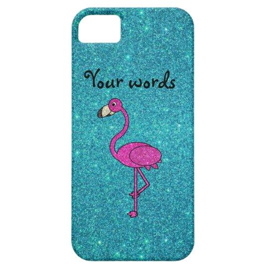 Rose Glitter-Flamingo auf türkiser Schutzhülle Fürs iPhone 5