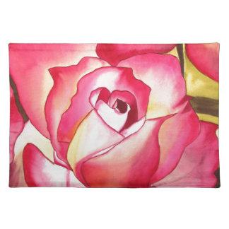 Rose Hannah Gordon rosa Watercolorkunst Stofftischset