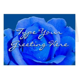 Rose kardiert blaue Blumen-kundenspezifische Gruß-