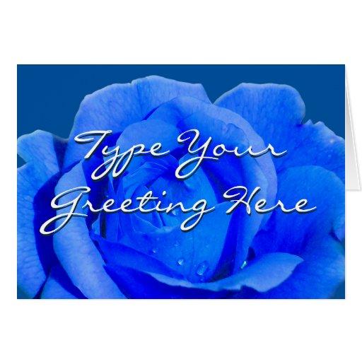 Rose kardiert blaue Blumen-kundenspezifische Gruß- Karte