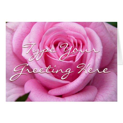Rose kardiert rosa Blumen-kundenspezifische Gruß-K Karte
