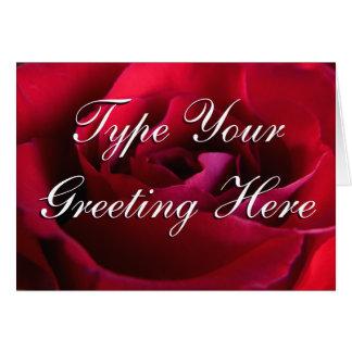 Rose kardiert rote Blumen-kundenspezifische Gruß-K Mitteilungskarte