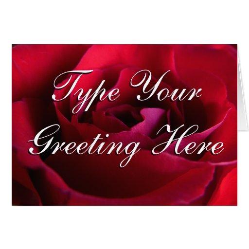 Rose kardiert rote Blumen-kundenspezifische Gruß-K Karten