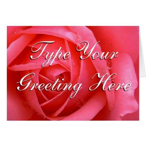 Rose kardiert rote Blumen-kundenspezifische Gruß-K Karte