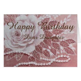 Rose mit Perlen, Geburtstagskarte Grußkarte