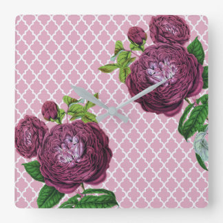 Rose morrocco quadratische wanduhr