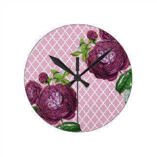 Rose morrocco runde wanduhr