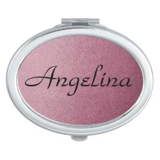Rose rosa Ombre personalisierter Name auf Taschenspiegel