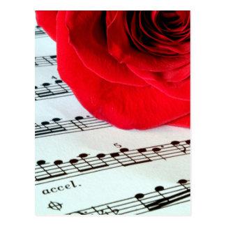 Rose u. Musik - Musik-Liebhaber Postkarte