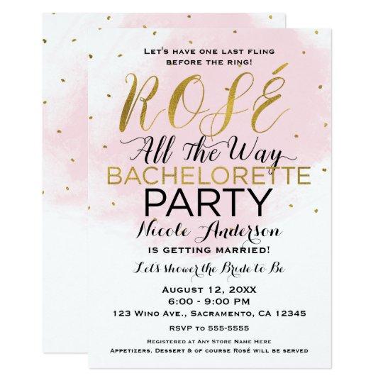Rosé vollständig Junggeselinnen-Abschieds-Rosa u. 12,7 X 17,8 Cm Einladungskarte