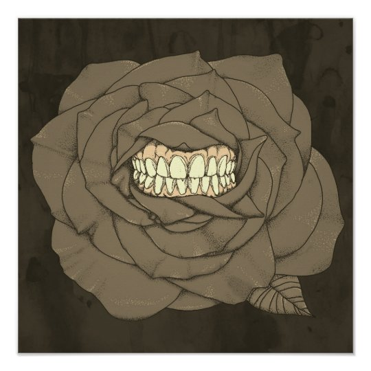 Rose with teeth, sepia poster