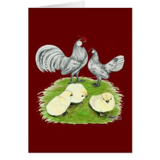 Rosecomb Zwerghühner und Küken Karte