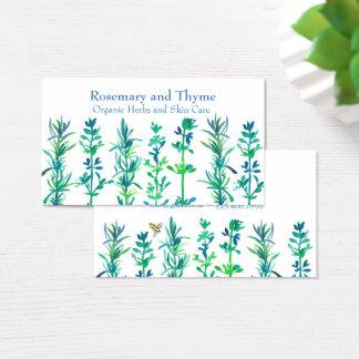 Rosemary-Thymian-Bienen-Aquarell-Kräuter Visitenkarte