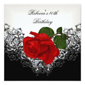 Rosen-40. Geburtstags-Spitze-Schwarz-weißes Silber Quadratische 13,3 Cm Einladungskarte