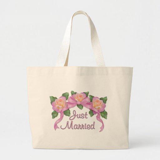 Rosen-Band-Hochzeit - gerade verheiratet Einkaufstaschen