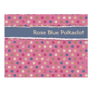 Rosen-blauer Polka-Punkt Postkarte