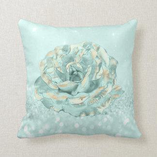 Rosen-Blume Tiffany tadellose Aqua-Glitzer-Hütte Kissen