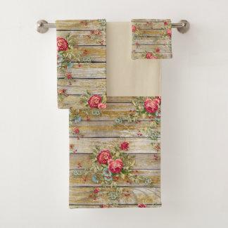 Rosen-Blumen-BlumenShabby Chic-Tuch-Set Badhandtuch Set