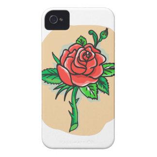 Rosen-Blumen-Knospe verlässt Dornen-Tätowierung iPhone 4 Hüllen