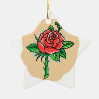 Rosen-Blumen-Knospe verlässt Dornen-Tätowierung Keramik Ornament