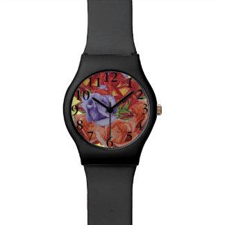 Rosen-Blumen-Kunstentwurf der Rosenpfirsich-Rose Armbanduhr