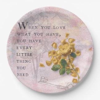 Rosen-Blumen mit kluger Sprichwort-rosa Klugheit Pappteller