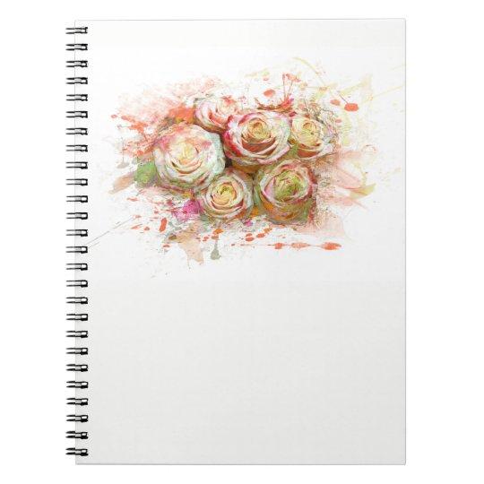 Rosen, Blumen, romantisch, Watercolor Spiral Notizblock