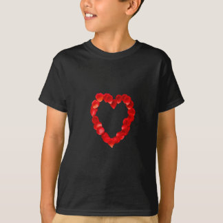 Rosen-Blumenblatt-Herz-Form T-Shirt