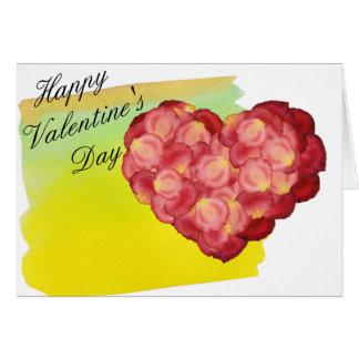 Rosen-Blumenblatt-Herz mit Watercolor draußen nach Karte