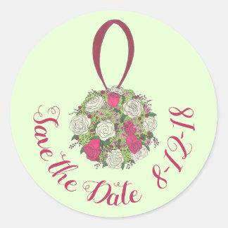 Rosen-Blumenbrautblumenstrauß, der Save the Date Runder Aufkleber