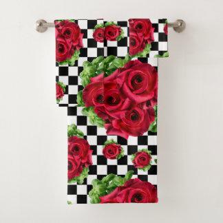 Rosen-Blumenstrauß-BlumenLiebe Rockabilly Badhandtuch Set