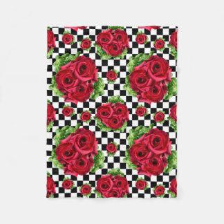 Rosen-Blumenstrauß-BlumenLiebe Rockabilly Fleecedecke