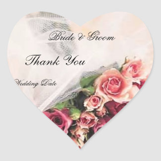 Rosen-Blumenstrauß-Hochzeit danken Ihnen Herz-Aufkleber