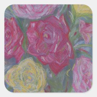 Rosen-Blumenstrauß Quadratischer Aufkleber