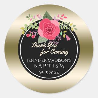 Rosen-Blumentaufe danken Ihnen | Goldtaufe Runder Aufkleber