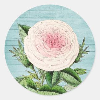 Rosen-BlumenVintager Blumenaufkleber mit blauem Runder Aufkleber