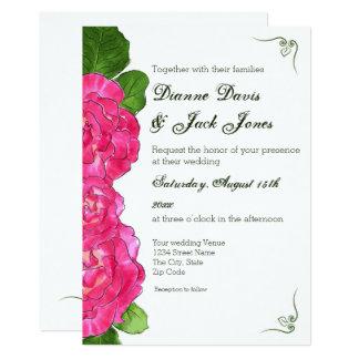Rosen-Blüten-Blumenhochzeits-Einladung Karte