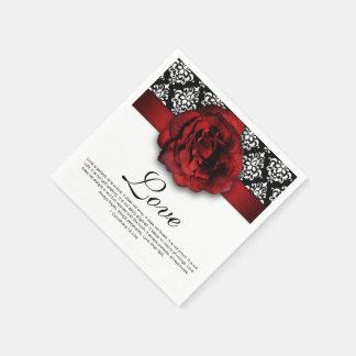 Rosen-Damast-Liebe-Hochzeits-Jahrestag Papierservietten