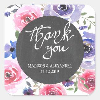 Rosen-danken lila Blumentafel-Hochzeit Ihnen Quadratischer Aufkleber