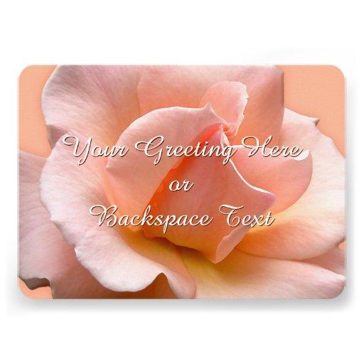 Rosen-Einladungs-personalisierte Pfirsich-Rose Individuelle Ankündigskarten