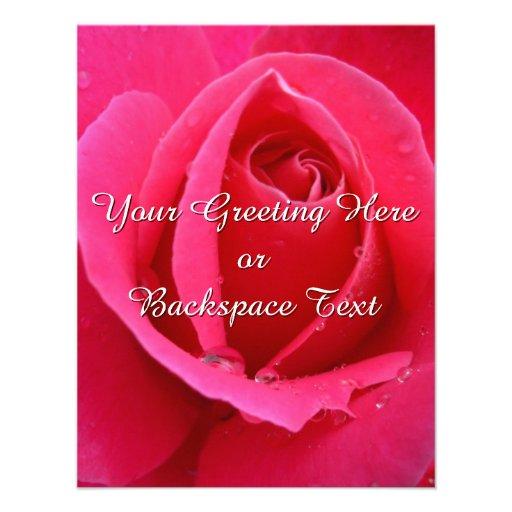 Rosen-Einladungs-personalisierte rosa Rose UAWG Personalisierte Ankündigung