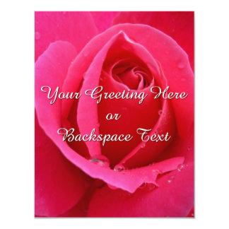 Rosen-Einladungs-personalisierte rosa Rose UAWG 10,8 X 14 Cm Einladungskarte